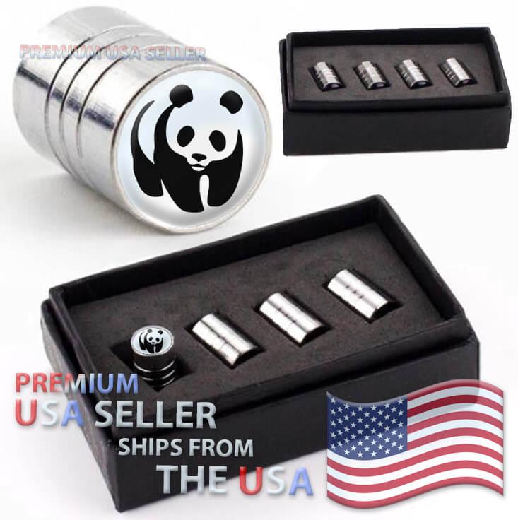 Panda Logo Valve Stem Caps Chrome Tires Kit Emblems Wheels
